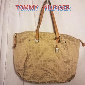 TOMMY HILFIGER  gold logo print tote handbag